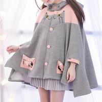 蝙蝠袖斗篷薄少女短外套