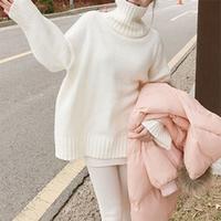 白色中长款高领套头毛衣